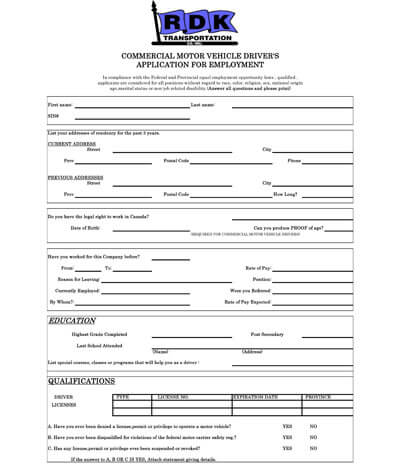 Application for Employment