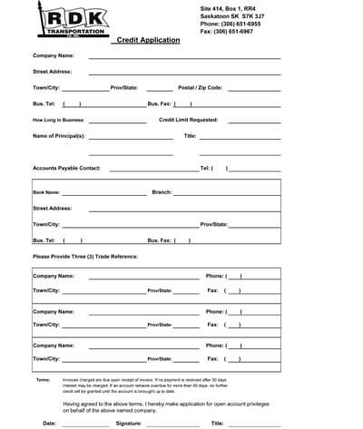RDK Credit Application