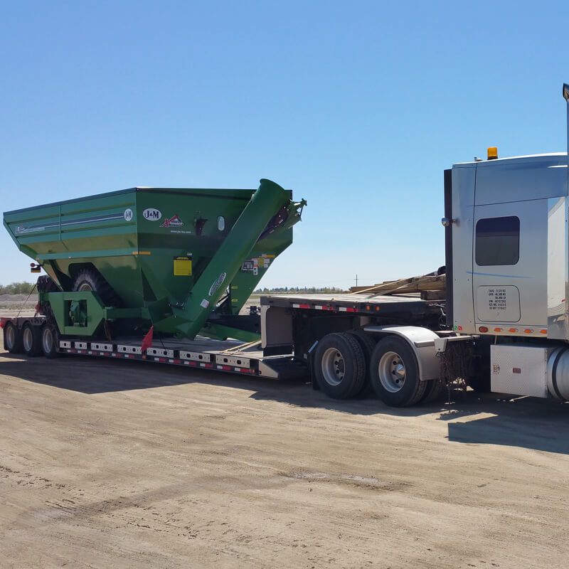 Farm equipment on trailer